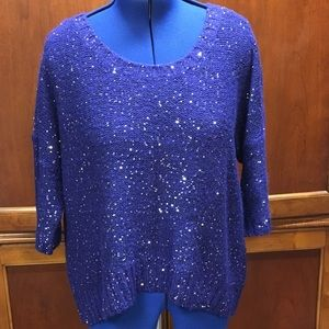 High Low Pretty Sparkly Royal Blue Sweater